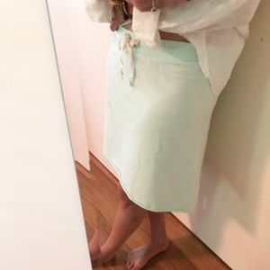 LILLA P. Mint Green French Terry Drawstring Skirt